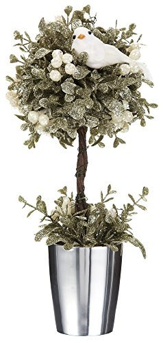 Shimmering Holly - Ganz Kissing Krystals Light Up Champagne White Mistletoe Dove Topiary with Timer, 10