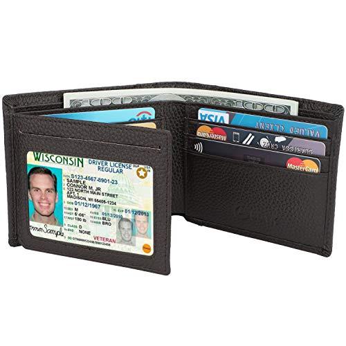 Men's Wallet - RFID Blocking Cowhide Leather Vintage Trifold Wallet (Natural Grain Coffee)