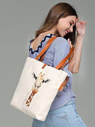So'each Women's Animal Giraffe Art Graphic Top Handle Canvas Tote Shoulder Bag