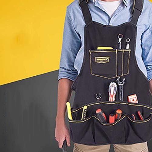 ツール エプロン,マルチ ポケット 通気性 調節可能な肩ストラップ 園芸用 ガーデン エプロン ユニ-黒 58x54cm(23x21inch)