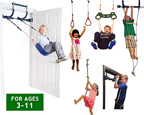 Gym1 Deluxe Indoor Playground with Indoor Swing, Plastic Rings, Trapeze Bar, Climbing Ladder, and Swinging Rope ...