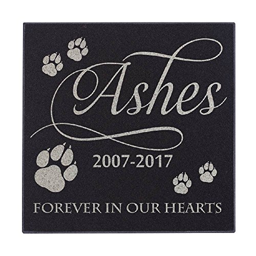 Lara Laser Works Cat Paws Forever in Our Hearts Cat Memorial Personalized Grave Stone for Cat | Granite ()