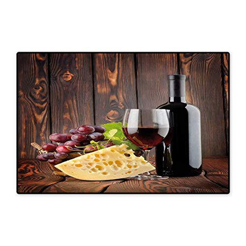 Wine,Bath Mat,Red Wine Cabernet Bottle and Glass Cheese, used for sale  Delivered anywhere in USA