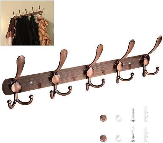 Perchero de pared de lat/ón macizo Flybath lat/ón Coat Hook Brushed Brown