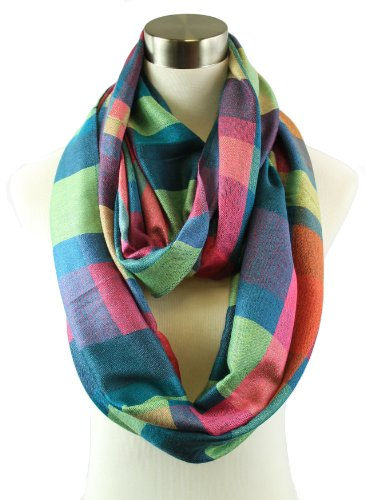 Plum Feathers Bright Colors Big Plaid Infinity Scarf