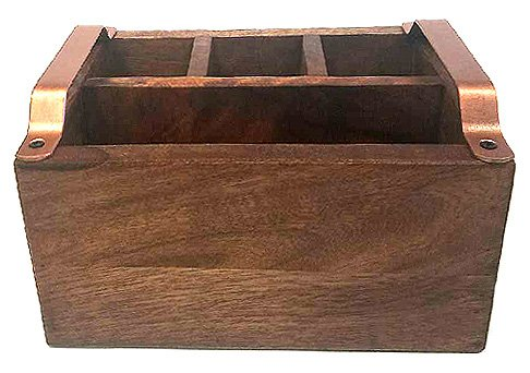 Mountain Woods CCAM/ 4 Compartment Caddy With Copper Handles, 9.125X3X3.125, Brown