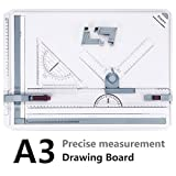 A3 Drawing Board 50.5 x 37cm Metric System, Preciva Drafting Table with Parallel Motion Accessories for Art and Design - White