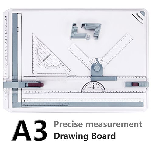 A3 Drawing Board - Preciva Drafting Board Table with Parallel Motion Accessories and Metric Measuring System for Art and Design - White by Preciva