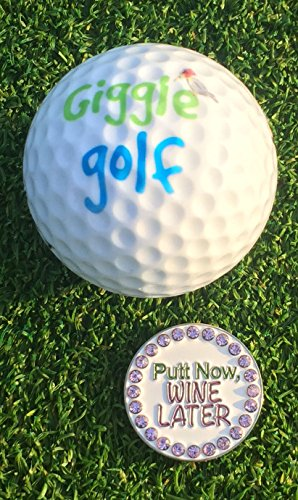 Giggle-Golf-Bling-Putt-Now-Wine-Later-Golf-Ball-Marker-With-A-Standard-Hat-Clip