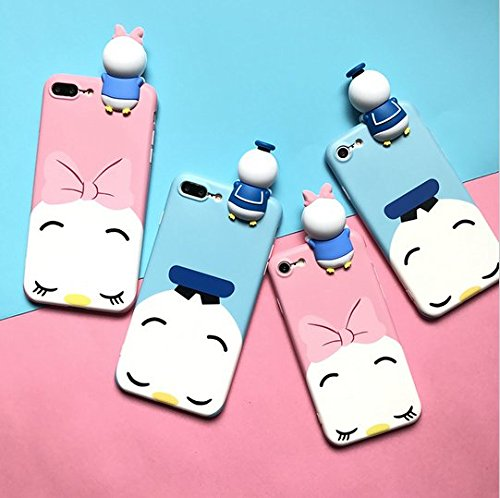 3D Donald Duck and Daisy Dolls phone Cases For iphone 6 6s 6plus 7 7Plus Scrub soft silicon case back cover for iphone (blue iphone7) - Donald Duck Cell Phone Case