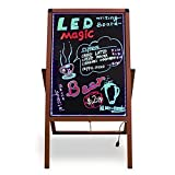 "Woodsam LED Illuminated A-Frame Sidewalk Sandwich Chalkboard Message Sign – 28""x20"" Reversible Glass&Chalk Board - Great For Restaruant Menu Display, Business, Events and Holiday Decoration"