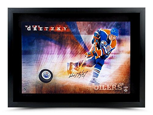 Wayne-Gretzky-Autographed-Hockey-Puck-16X24-Photo-Slap-Shot-Breaking-Through-Upper-Deck-Certified