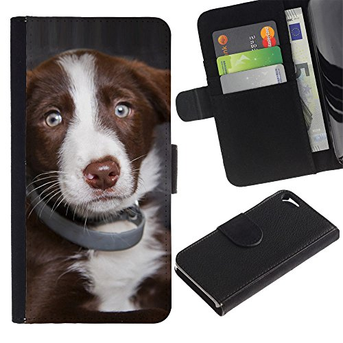LASTONE PHONE CASE / Luxe Cuir Portefeuille Housse Fente pour Carte Coque Flip Étui de Protection pour Apple Iphone 5 / 5S / Australian Shepherd Dog Puppy Blue Eyes