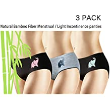 New 3 Pack Natural Bamboo Skin-Friendly Absorbent Menstrual Period Panty Incontinence -Elephant