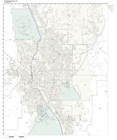 Amazoncom ZIP Code Wall Map Of Colorado Springs CO ZIP Code Map - Colorado zip code map
