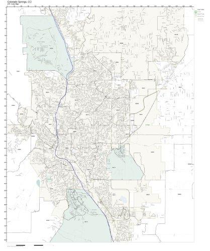 Amazon.com: ZIP Code Wall Map of Colorado Springs, CO ZIP Code Map on