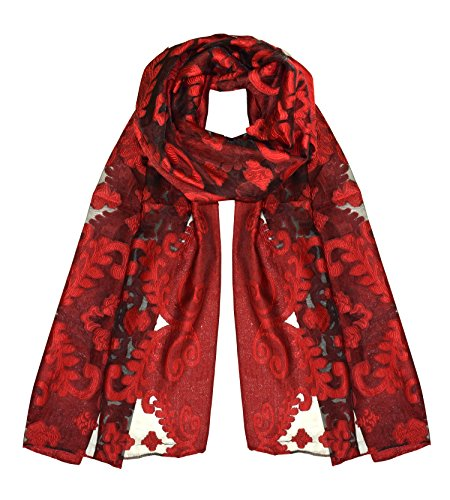 Peach Couture Summer Fashion Lightweight Floral Embroidered Burnout Scarf (Red Black) ()