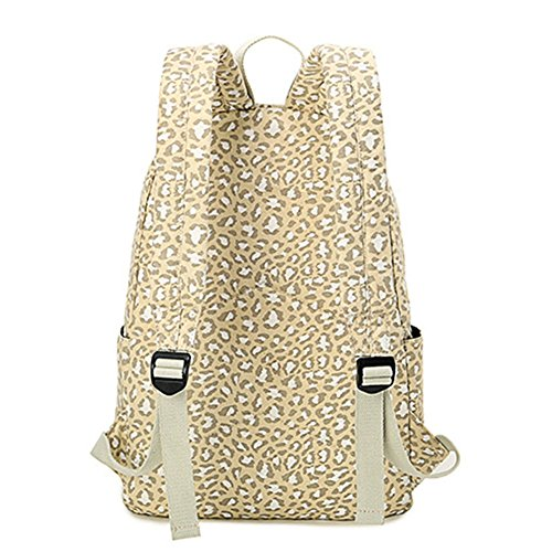 Travel Preppy For Women Backpack White Backpack Large Bag Students Capacity Print School Style Leopard Moollyfox Xxt7qdZZ