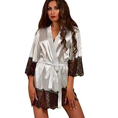 f797997d1f KEERADS Peignoir Satin Robe de Chambre Kimono Femme Sexy Dentelle Lingerie  Longue Chemise de Nuit Dentelle