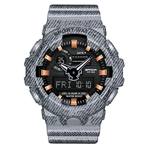 DEESEE(TM)Sanda Men Waterproof Dual Display Analog Digital LED Electronic Wrist Watches - Pearl Collection Chrono