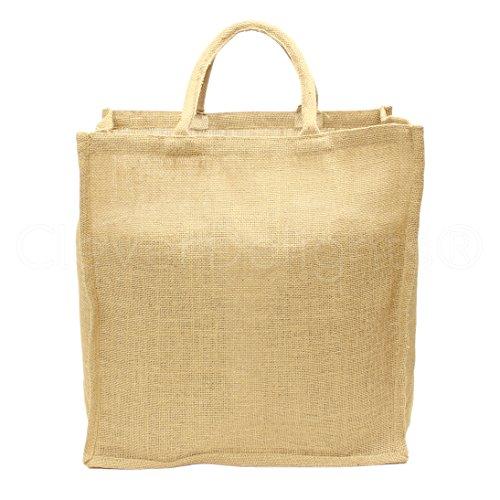 (CleverDelights Natural Burlap Shopping Bag - 16