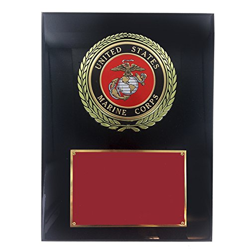- Customizable 9 x 12 Inch Black Piano Finish Plaque with U.S. Marine Medallion, includes Personalization