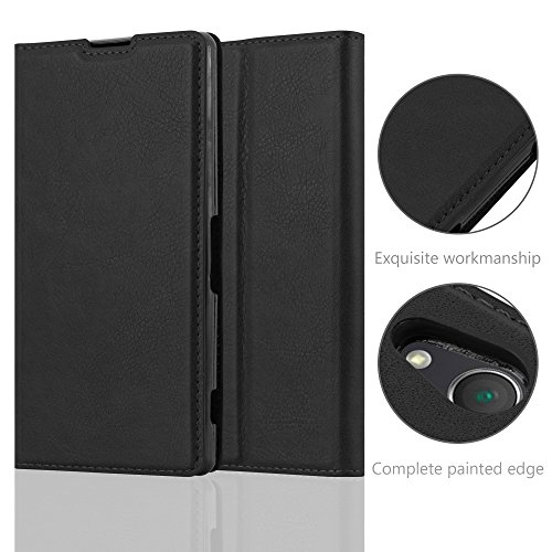 Cadorabo Case works with Sony Xperia Z2 Book Case in NIGHT BLACK (Design INVISIBLE CLOSURE) – with Magnetic Closure, Stand Function and Card Slot – Wallet Case Etui Cover PU Leather by Cadorabo (Image #4)