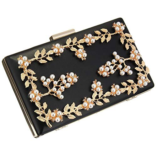 Beads Box Women for Purse Bag Black Pearl Ladies Shopping Evening Hard Fashion Acrylic Life Clutch Party with for Club Bag Elegant Ball Evening Girls Clutch Case Prom Daily Black zIz8dvPq