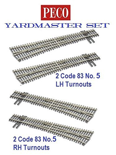 5 Right Hand Turnout - Peco HO-scale Code 83 Insulfrog Yardmaster Set of 4 turnouts, (2) #5 Left-Hand Turnouts and (2) #5 Right-Hand Turnouts, DCC Friendly by PECO