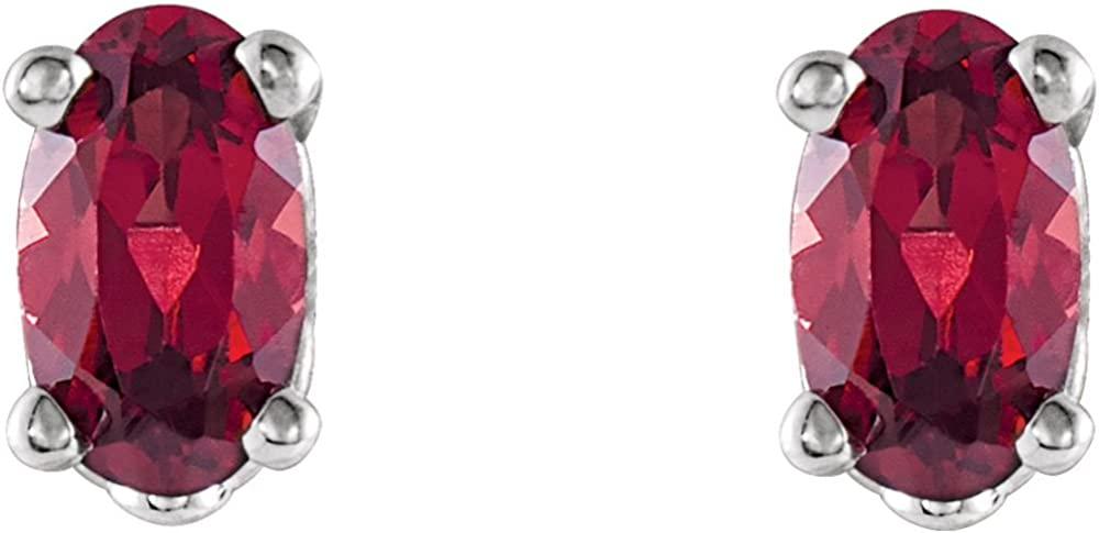 Jewels By Lux 14k White Gold Set Mozambique Garnet 05.00X03.00 mm Pair Polished Oval Mozambique Garnet Earrings With Backs