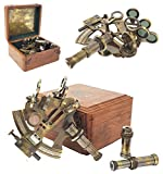 The New Antique Store - Sextant Brass Navigation Instruments Sextante Navegacion Marine Sextant in Rosewood Gift Box - Slow Motion Mechanism - 4 inches