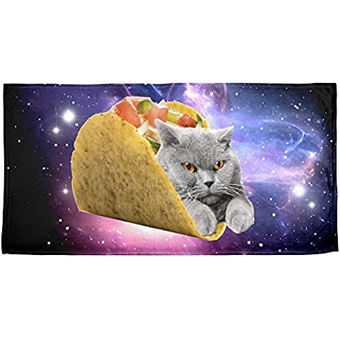 Beach Towel 30 x 60 Inches Taco Cat Design Machine Washable - Optimal Seven Drawer