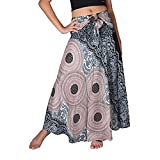 Anxinke Women's Floral Printed Hippie Gypsy Elastic Long Skirts (L)