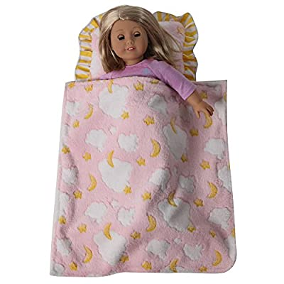 Baby Whitney Pink Clouds Doll Blanket & Pillow: Toys & Games