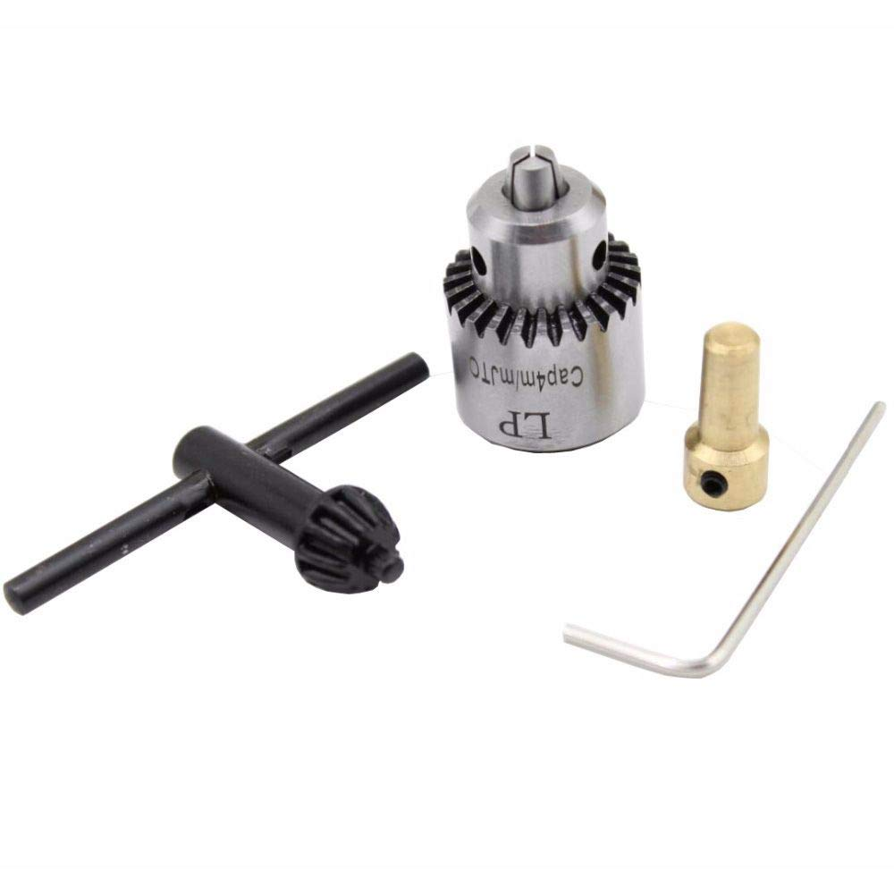 SODIAL Hot Electric Drill Grinding Mini Drill Chuck Key Keyless Drill Chucks 0.3-4mm Capacity Range W// 3.17mm Shaft Connecting Rod
