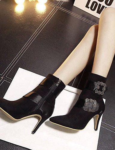 Xzz Botas Vestido 5 Negro Uk5 Eu38 Zapatos Cn38 us7 Tacones Vellón Gray Uk6 Mujer Puntiagudos Bermellón us8 5 Eu39 Gray Stiletto Gris Cn39 Tacón De rr8Rq0