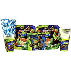 Cedar Crate Market Bundle: Teenage Mutant Ninja Turtles Party Pack for 16 Guests: Straws, Plates, Napkins, and Cups (Bundle for 16)
