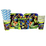 ninja turtle birthday party - Teenage Mutant Ninja Turtles Party Pack for 16 Guests: Straws, Plates, Napkins, and Cups (Bundle for 16)