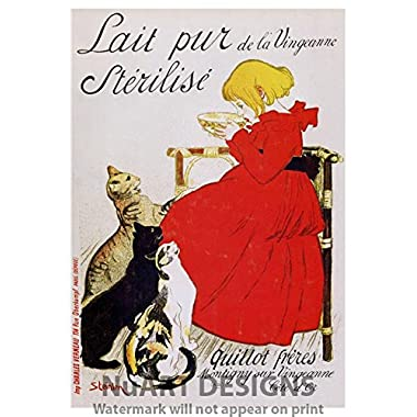 Vintage Art Nouveau Advertisement Reproduction Giclee Poster on Canvas  LAIT PUR STERILISE DE LA VINGEANNE .