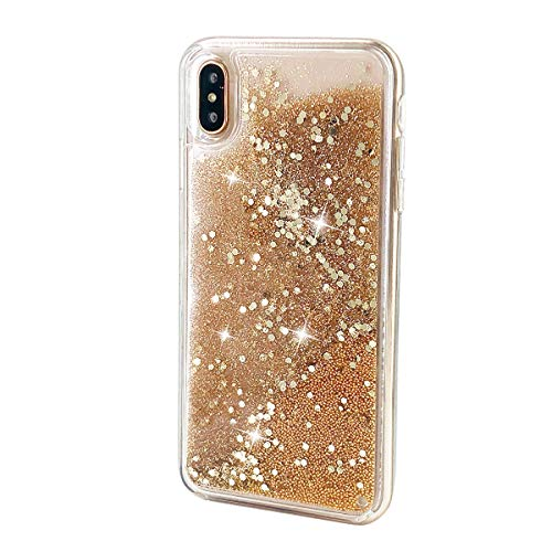 uCOLOR Gold Glitter Case Compatible for iPhone Xs Max Waterfall Liquid Sparkling Quicksand Clear Protective Case Compatible for iPhone Xs Max(6.5