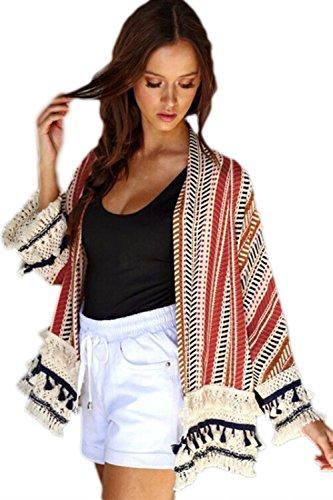 Chaqueta Camisa Mujer Abierto Borlas Zilcremo Frente Elegante La Estampado Corta Encaje Con Rojo Outcoat Etnico Patchowork zxpPSqwp