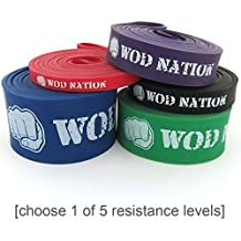 Pull Up Assist Band by WOD Nation for Pullup Assistance, Resistance Exercise, Stretch, Mobility Work & Functional Fitness + Video Workout Training & | 41 inch straps