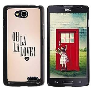 Paccase / SLIM PC / Aliminium Casa Carcasa Funda Case Cover - La Love Heart Peach Text Valentines - LG OPTIMUS L90 / D415