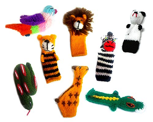 (Handmade Knit Finger Puppet 12 Piece Set Children Kids Toddler School Educational Story Telling Play Time Theme Show Toy - 1 Dozen Assorted Jungle Zoo Animals Wildlife)