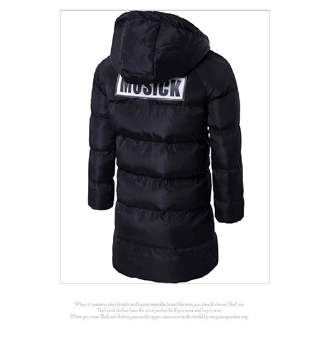 Abetteric Men Cotton Solid Thickening Mid Length Hooded Parka Jacket