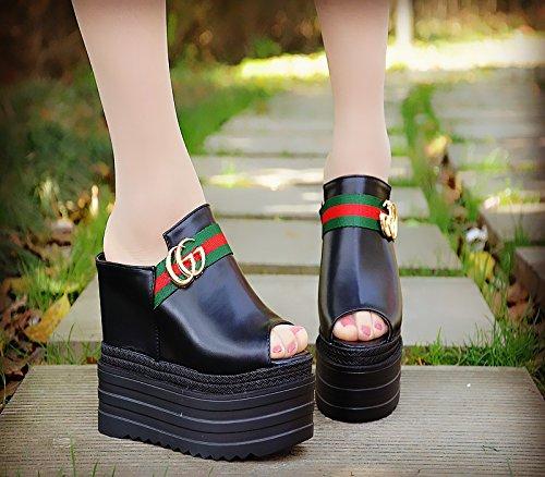 zapatillas Cool negro 12 zapatillas y de 031 frío Tacones 13 centimetros altos XiaoGao tqg7wzfUz