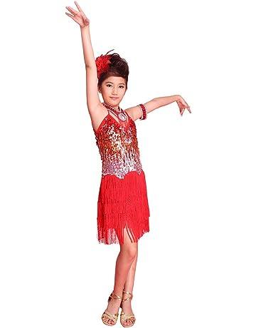 041d2a995323 BOBORA Ragazze Bambini con Paillettes Dancewear Nappa Latino Salsa Danza  Abito Costume
