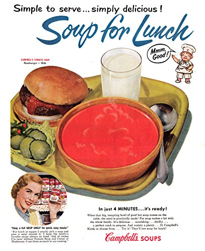 Campbell Art Deco Print - 1953 Campbell's Tomato Soup + Burger For Lunch - Original 13.5 by 10.5 Magazine Ad