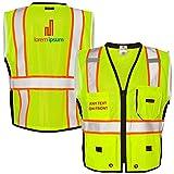 KAMAL OHAVA Custom Heavy Duty Reflective Safety Vest w/Logo, Lime, M