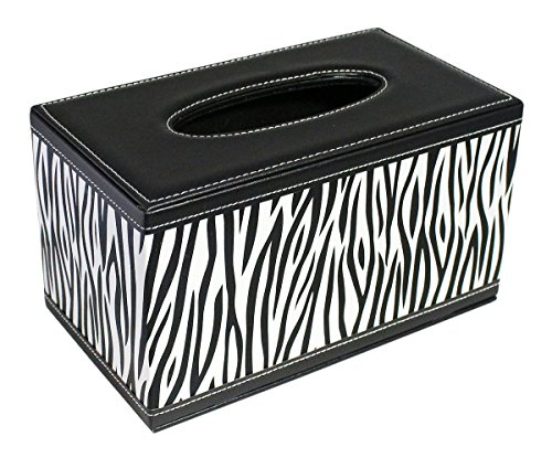 Deluxe Modern Black and white Zebra Line Faux Leather Rectangle Toilet/ Facial Tissue Box Cover for Vanity Countertops
